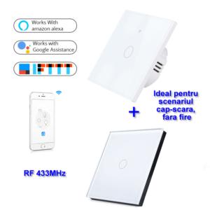 INTRERUPATOR SMART FARA NUL 1 CANAL ALB MODEL SM-WIFI601 + 1 telecomanda