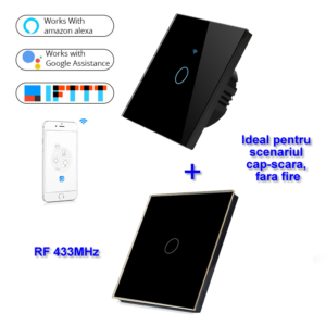 INTRERUPATOR SMART FARA NUL 1 CANAL NEGRU MODEL SM-WIFI601 + 1 telecomanda
